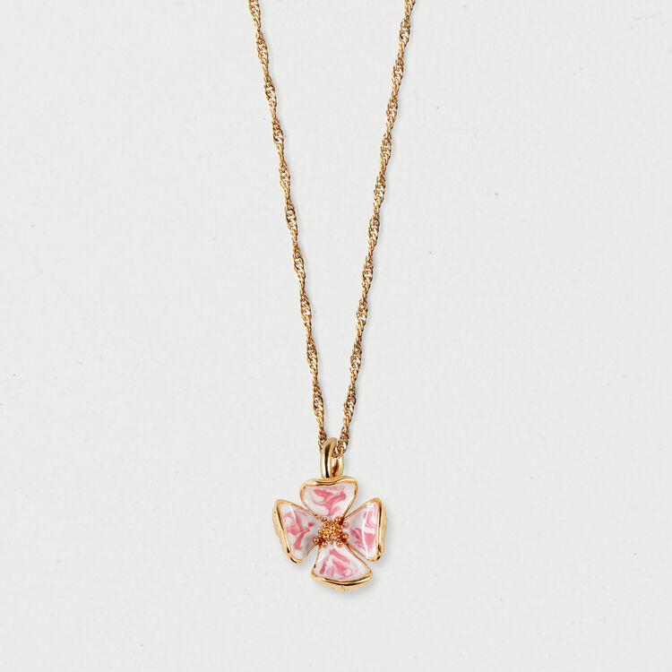Collar con flor rosa : Bisuteria color OR