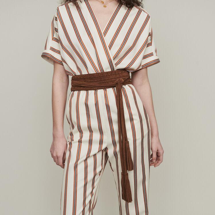 Cinturón tiro alto de gamuza : Cinturones color Camel