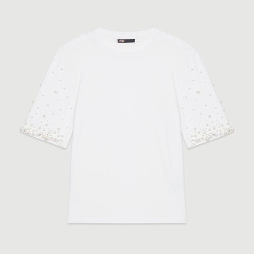Camiseta de algodón con perlas : T-Shirts color Blanco