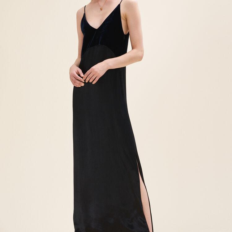 Langes Kleid aus zwei Materialien : Vestidos color Azul Marino