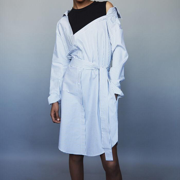 Vestido camisero destructurado de rayas : Vestidos color Rayas