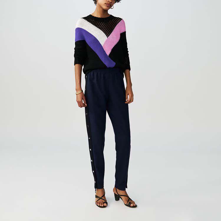 Pantalón loose con automáticos : Pantalones color Azul Marino