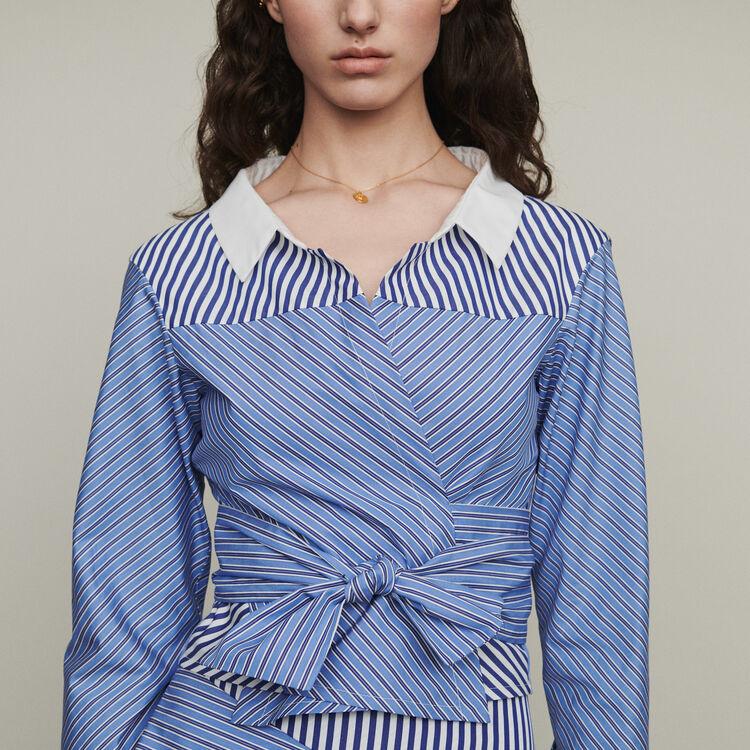 Top corto tipo blusa anudada : Tops y Camisas color Rayas