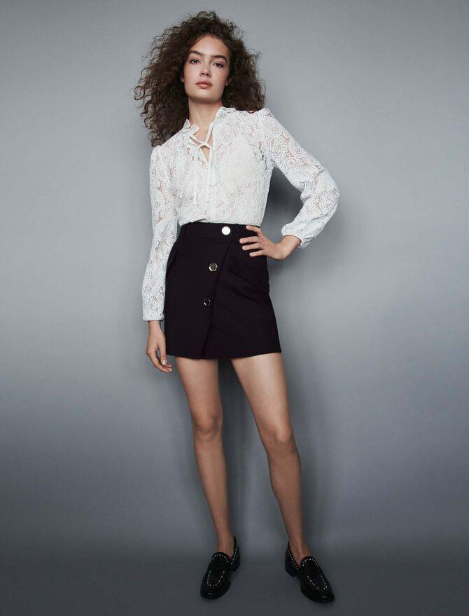 Falda de crepé con botones a contraste -  - MAJE