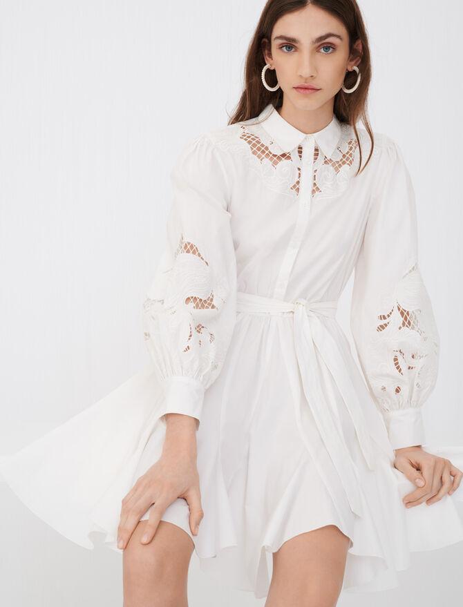 Vestido con vuelo de algodón y guipur - Vestidos - MAJE