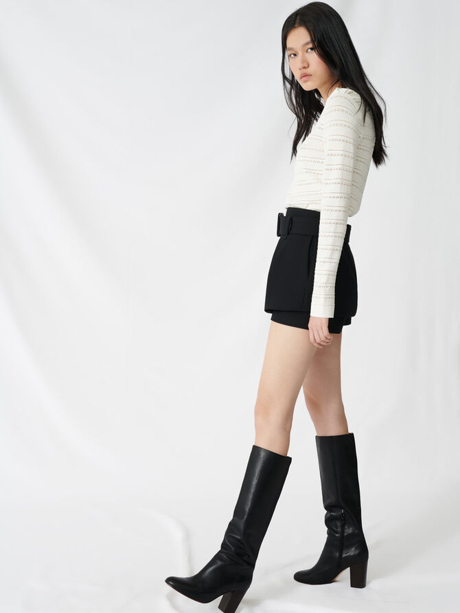 Pleated trompe-l'oeil short - Faldas y shorts - MAJE