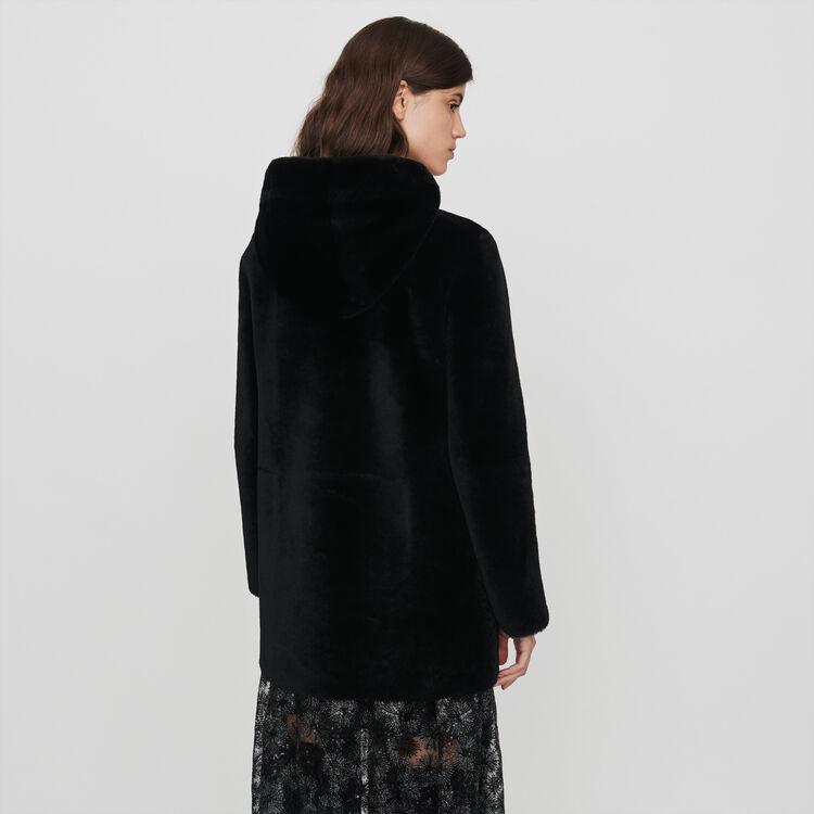 Piel vuelta de lana con capucha : Abrigos y Cazadoras color Negro