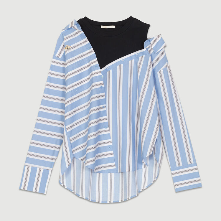 Camisa destructurada en popelina rayada : Azul color Azul Celeste