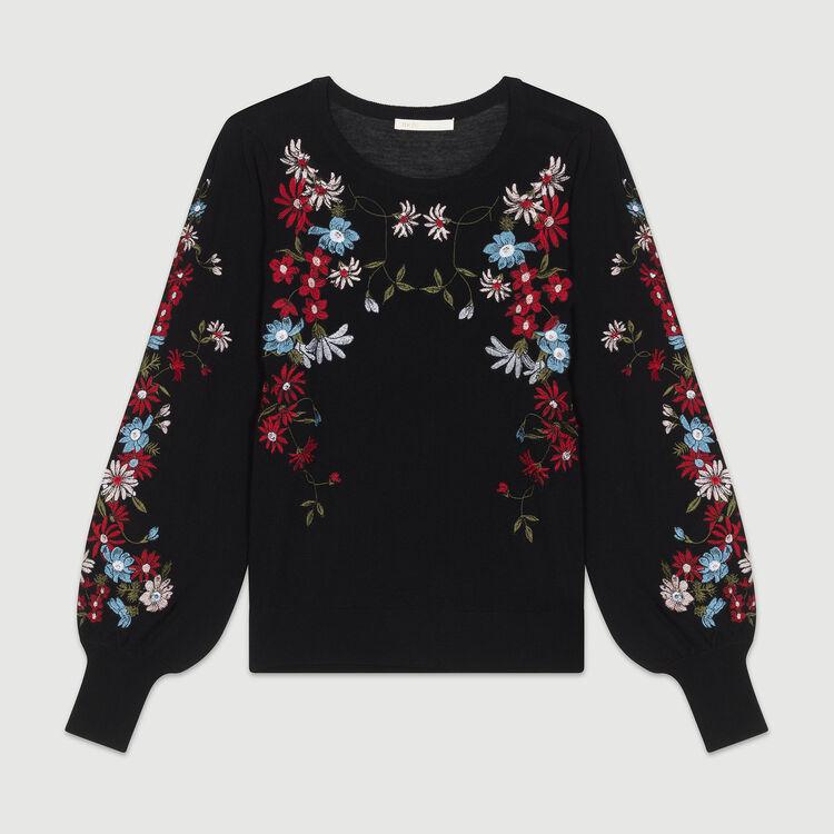 Jersey fino con bordados : Malla color Negro