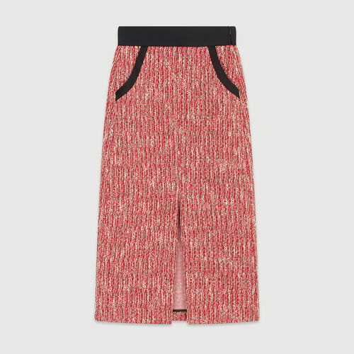 Falda midi tipo tweed : Faldas y shorts color Rojo