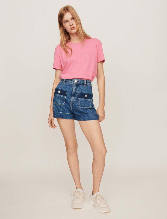 Short ancho de denim con bolsillos - Faldas y shorts - MAJE