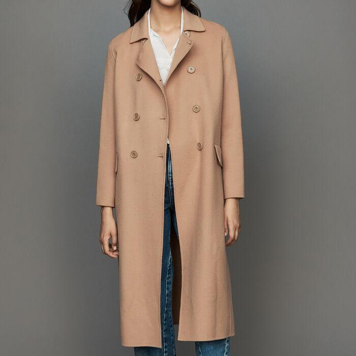 Abrigo largo de lana doble faz : Abrigos color Camel