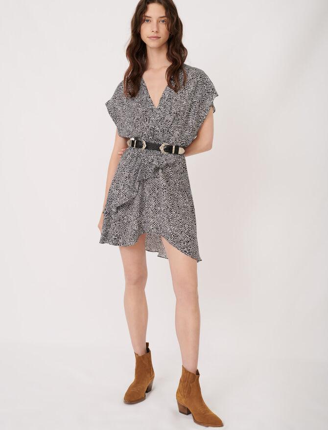 Vestido asimétrico con print animal - Vestidos - MAJE