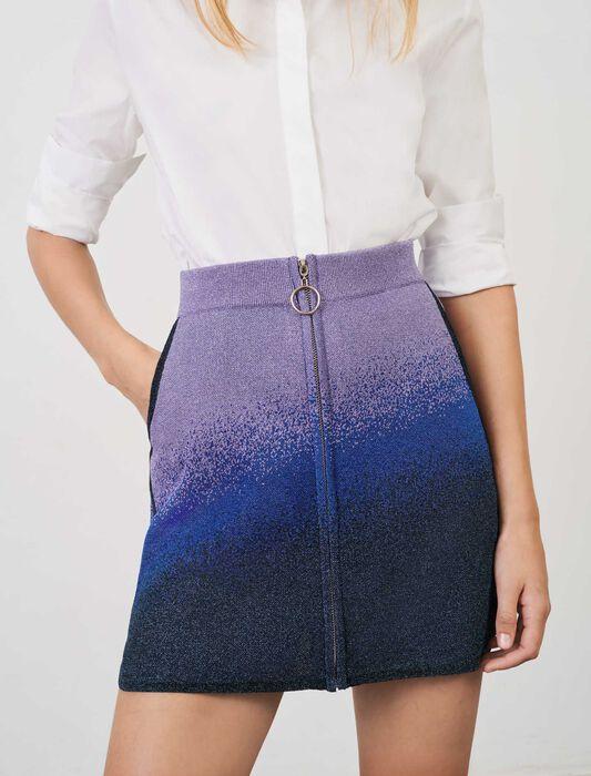 Falda recta con cremallera y punto lúrex : Faldas y shorts color Bleu/Vert/Violet
