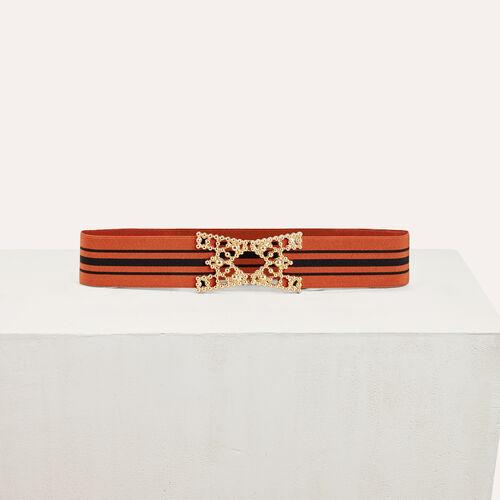 Cinturón ancho elástico a rayas : Accesorios color Ladrillo