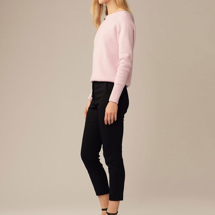 Pantalón recto en viscosa : Pantalones color Negro