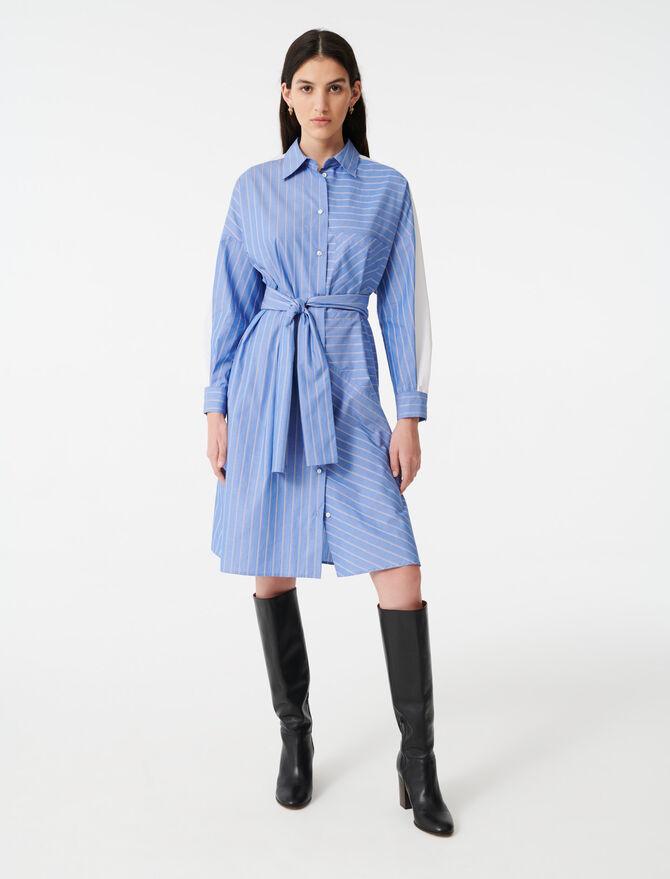 Vestido camisero con estampado de rayas - Vestidos - MAJE