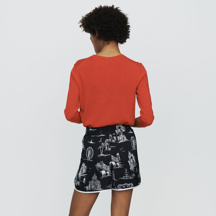 Short estampado Paris : Faldas y shorts color NEGRO