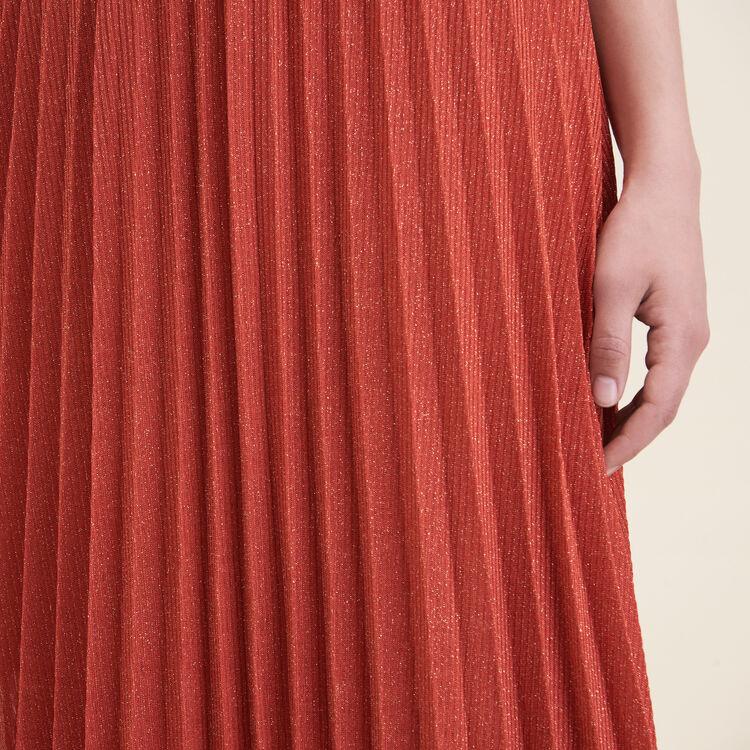 Falda plisada de punto de lúrex : Faldas y shorts color Naranja