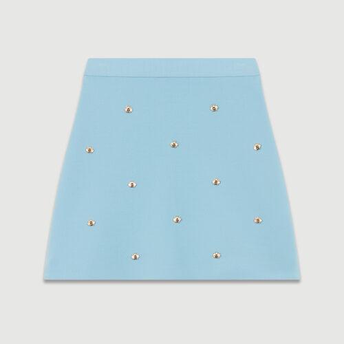 Falda con abejas bordadas : Faldas y shorts color Azul Celeste