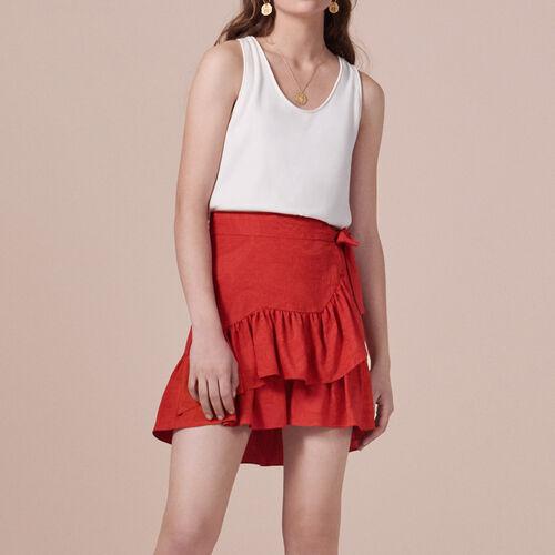 Falda con faldón y volantes : Faldas y shorts color Rojo
