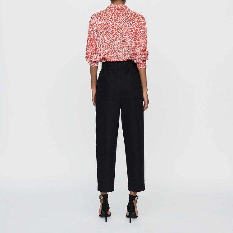 Pantalón ancho de tíro alto : Pantalones color Negro