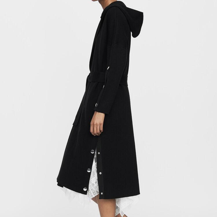 Cárdigan largo con capucha : Prêt-à-porter color Negro
