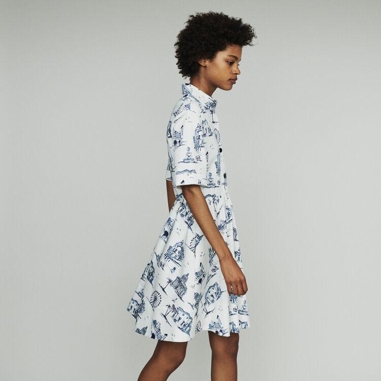 Vestido corto con cuello camisa : Vestidos color Crudo