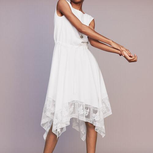 Vestido largo sin mangas con encaje : Vestidos color Blanco