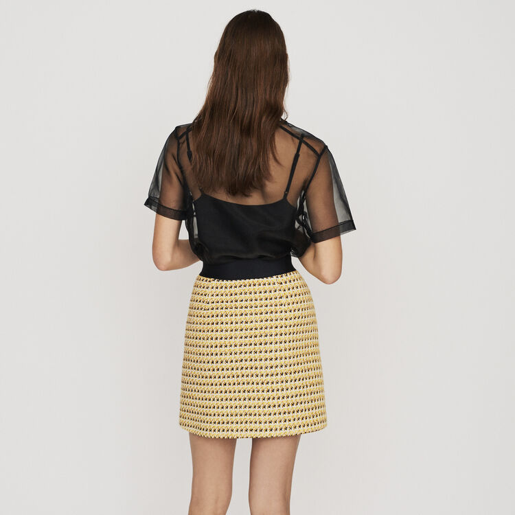 Falda corta de Tweed y Lurex : Faldas y shorts color Amarillo