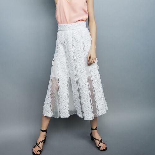 Falda larga de plumetis y bordados : Faldas y shorts color Blanco