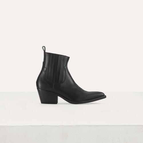 Bottines en cuir à découpes western : Botas y Botines color Negro