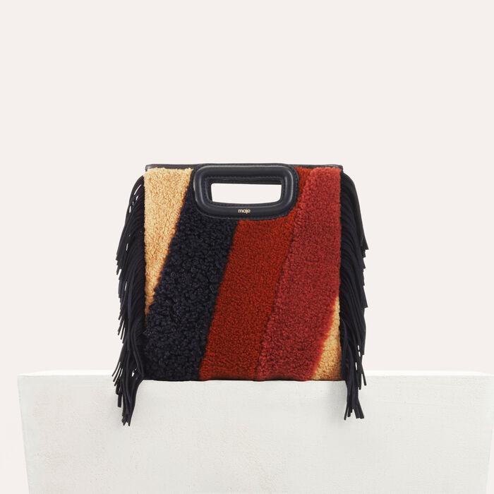 Bolso M en shearling y cuero : Bolsos M color Multicolor