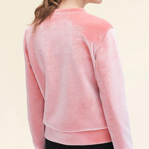 Sudadera recta de terciopelo : Jerseys y cárdigans color Rosa
