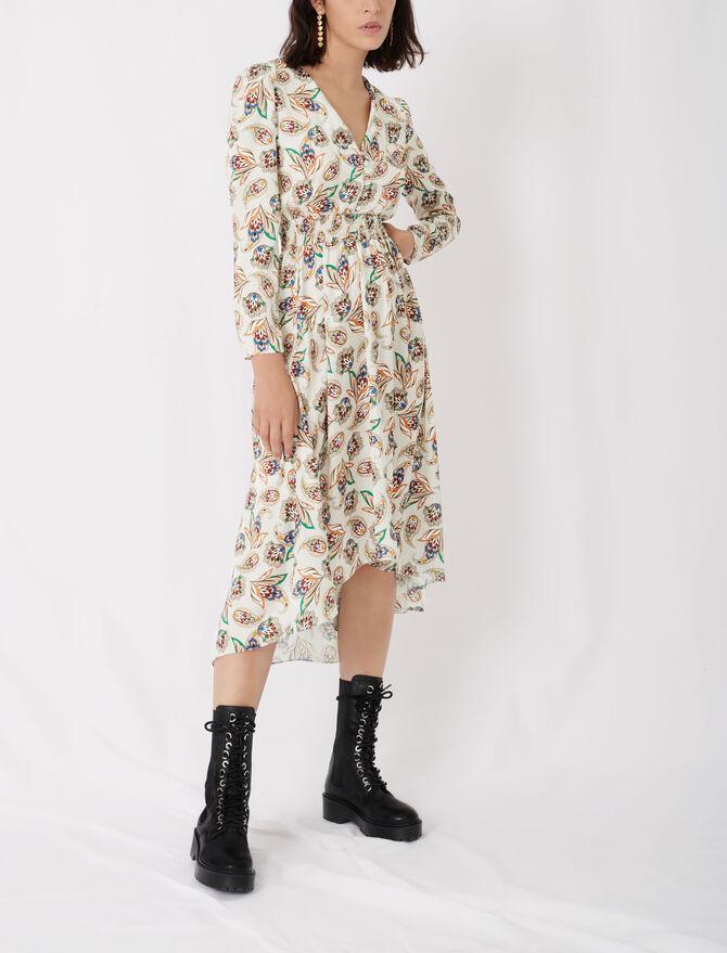 Vestido smock de raso estampado - Nueva colección - MAJE