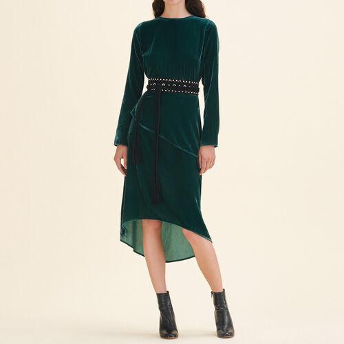 Vestido largo de terciopelo - Vestidos - MAJE