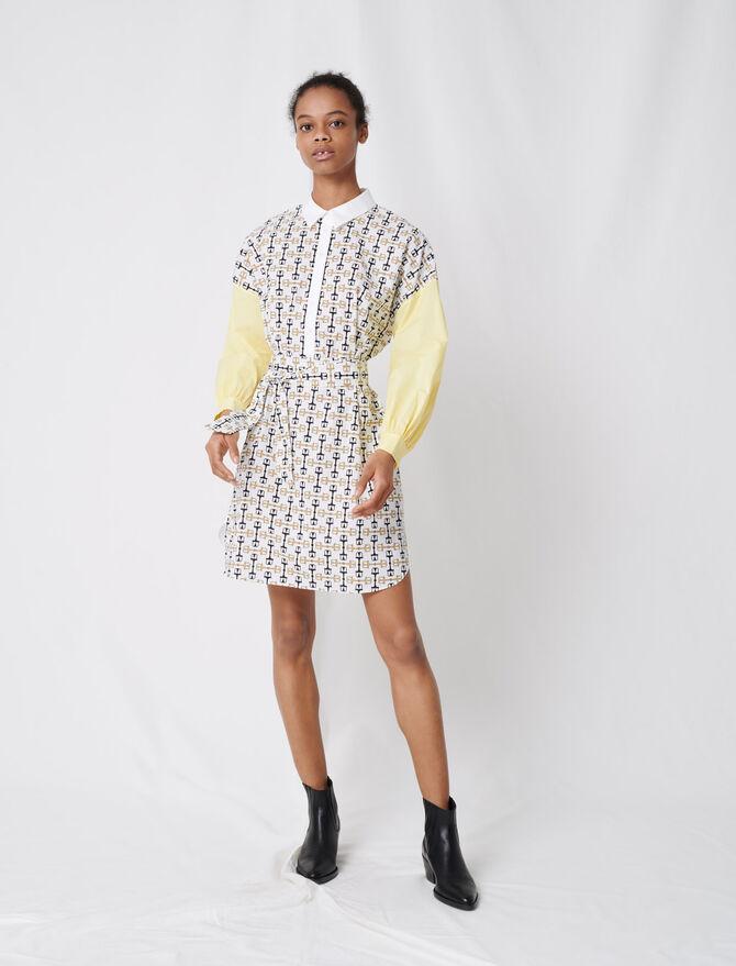 Vestido camisero de algodón estampado - Vestidos - MAJE