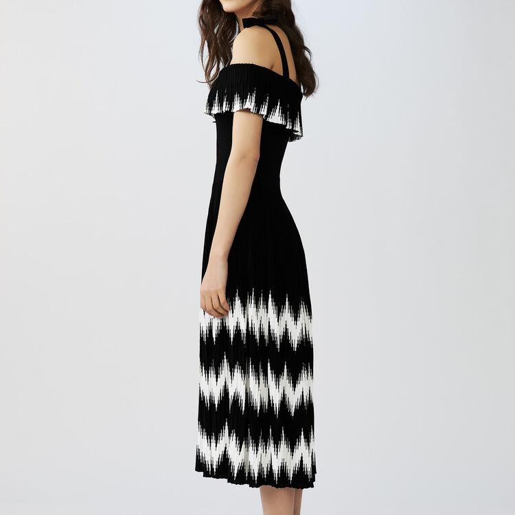 Vestido largo de punto con hombros : Vestidos color Negro