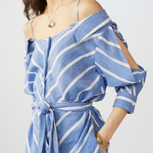 Vestido camisero rayado con hombros : Twisted stripes color Azul