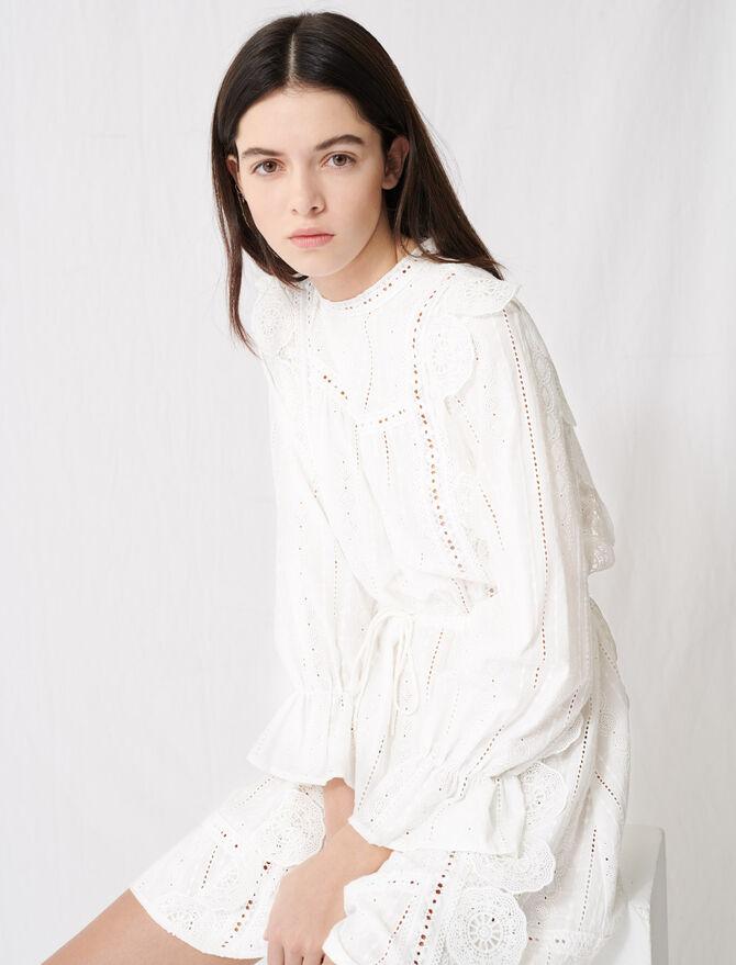 Vestido blanco con bordados ingleses -  - MAJE