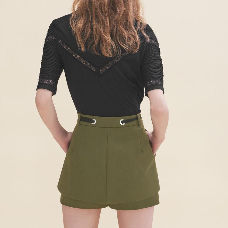 Short con ojales y lazada : Faldas y shorts color Caqui