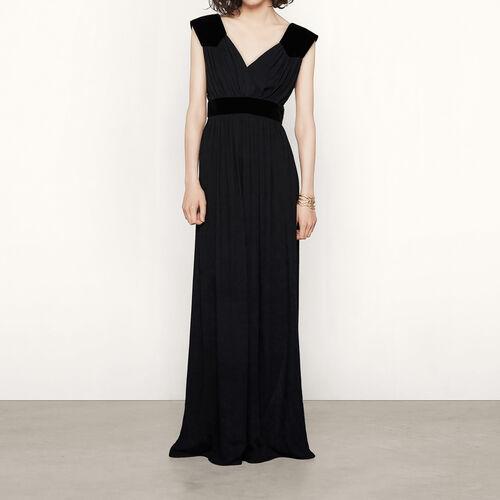 Vestido largo con piezas de terciopelo : Vestidos color Negro