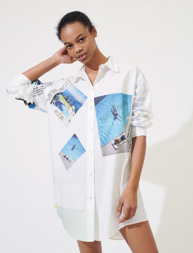 Camisa oversize de algodón estampado - Tops y Camisas - MAJE
