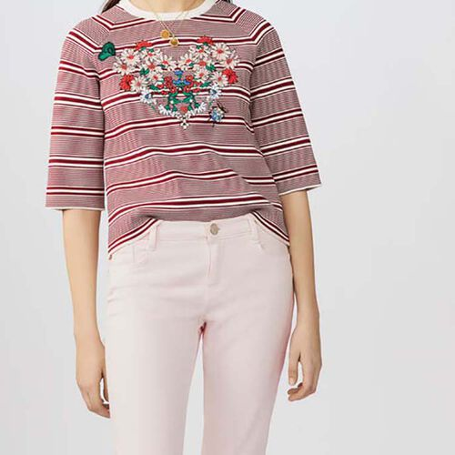 Striped jumper with embroideries : Malla color Rayas