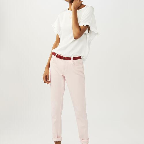 Camiseta loose con mangas de volantes : Tops color Blanco