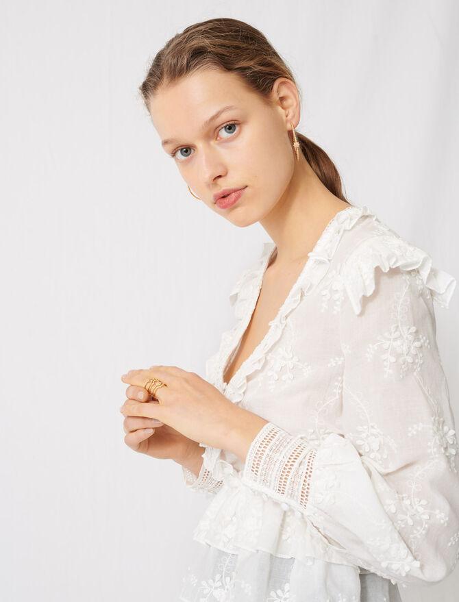 Top con detalle de bordado inglés - Tops y Camisas - MAJE