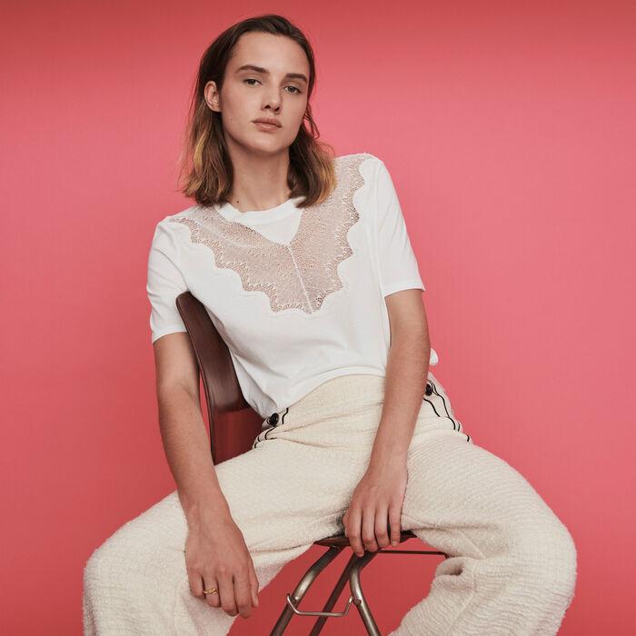 Camiseta con incrustaciones en encaje : T-Shirts color Blanco
