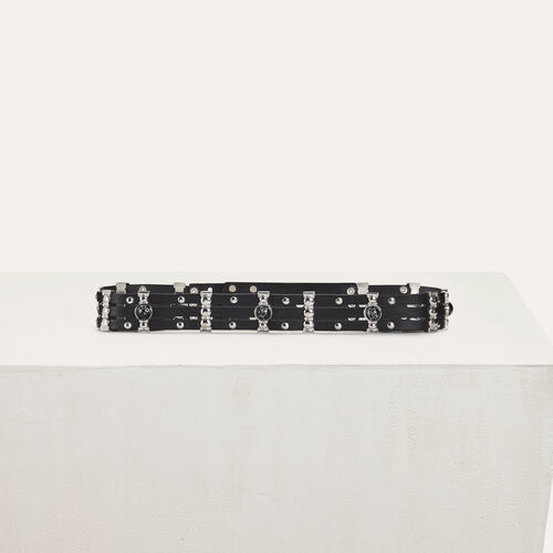 High-waisted leather belt and studs : Nueva colección color Negro