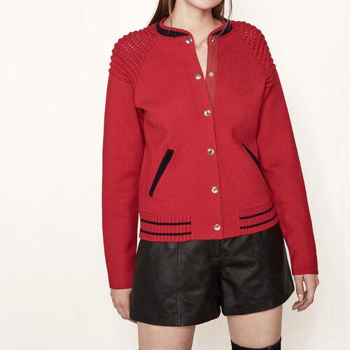 Cárdigan estilo bomber de punto : Jerseys y cárdigans color Rojo