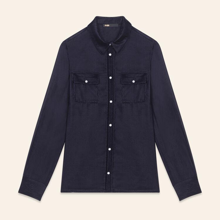 Camisa de terciopelo : Tops color Azul Marino